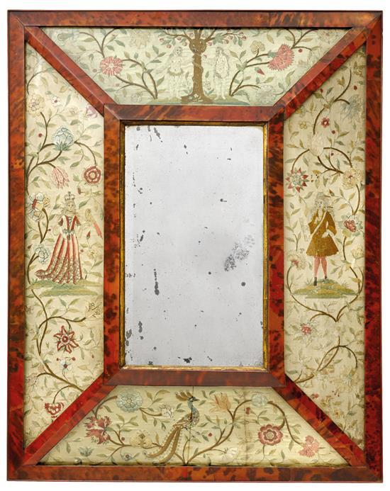 A Charles II needlework and tortoiseshell framed mirror, late 17th century