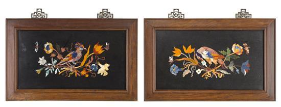 A pair of pietre dure framed panels, 20th century (2)