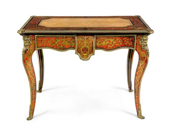 A French tortoiseshell and brass inlaid boulle side table/desk, late 19th century