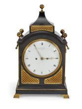 A Regency ebonised and brass cased bracket clock, Elliott & Company, Royal Exchange, London
