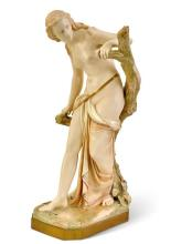 A Royal Worcester figure of 'The Bather Surprised', modelled by Sir Thomas Brock, circa 1899