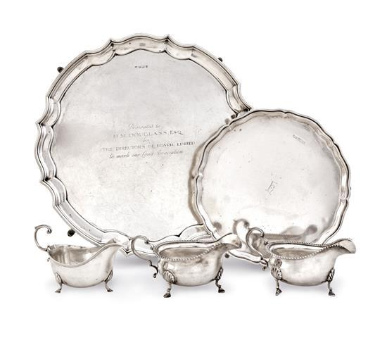 Two silver salvers and three silver sauce boats (5)