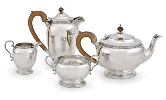 A silver four piece tea service, Adie Bros. Ltd., Birmingham, 1930 (4)