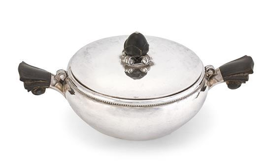 An unusual Danish Art deco silver ecuelle and cover, designed by Harald Nielsen, mark of Georg Jensen, Copenhagen, 1926-1932