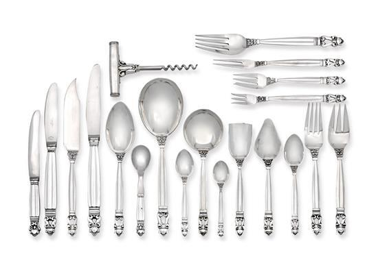 A Georg Jensen 'Acorn' pattern flatware service designed by Johan Rhode, post 1945 marks (190)