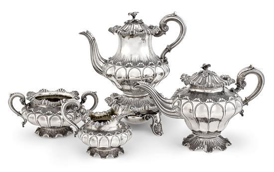 A George lV silver four piece tea service with burner, Edward, Edward Junior, John and William Barnard, London, 1829 (5)