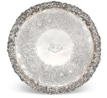 A large and impressive George lll circular silver tray, Joseph Cradock and William K Reid, London, 1819