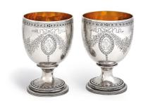 A pair of Regency silver and silver gilt goblets, maker I.R., London, 1805 (2)