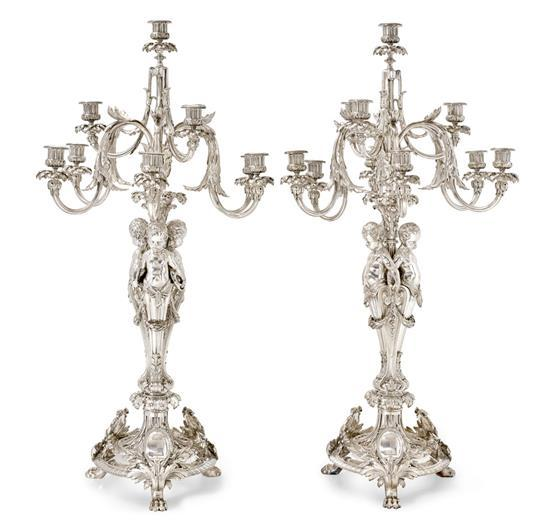 A pair of silver plated bronze figural candelabra, Christofle, Paris, 1874 (24)