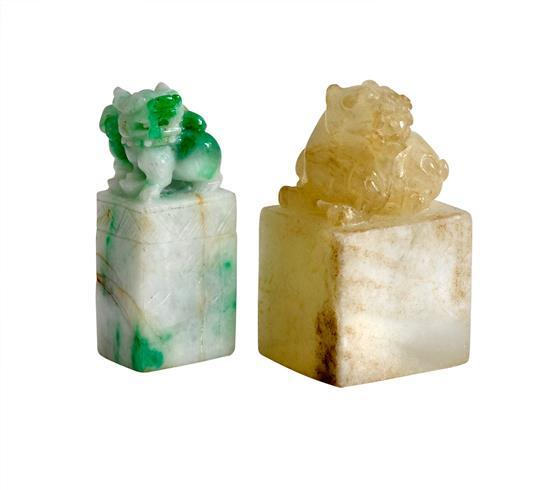 Two small jade seals (3)