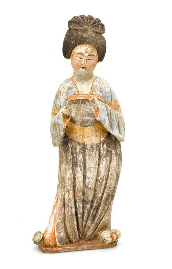 A painted pottery figure of a lady, Tang dynasty
