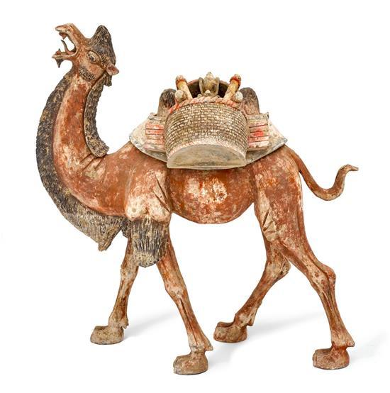 A large Tang-style painted grey pottery figure of a Bactrian camel