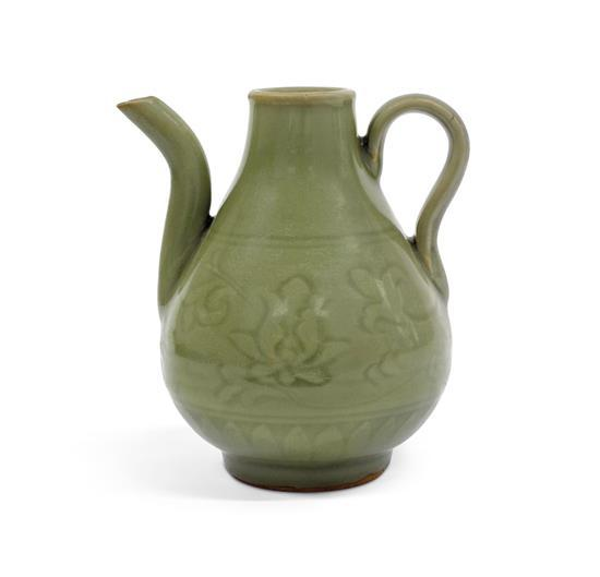 A celadon-glazed ewer probably Ming dynasty