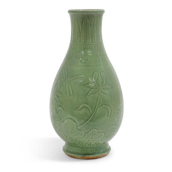A Ming-style celadon vase