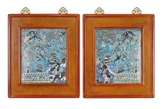 A pair of cloisonne enamel 'landscape' plaques Qing dynasty (2)