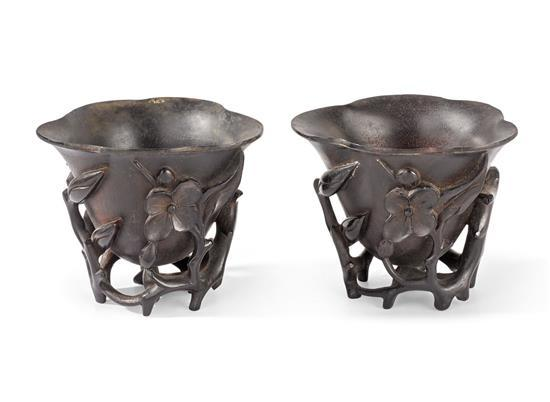 A pair of zitan 'magnolia' cups Qing dynasty (2)