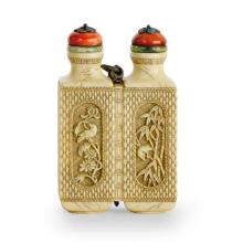 A carved ivory double snuff bottle, 19th/20th century (3)