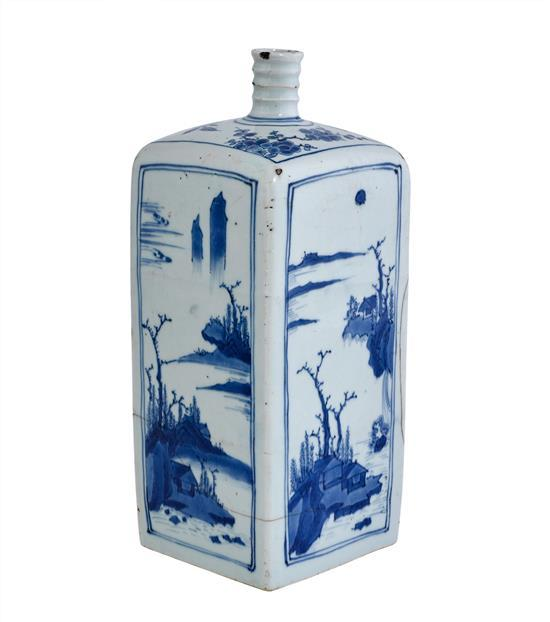 A blue and white rectangular flask late Ming dynasty, Wanli period