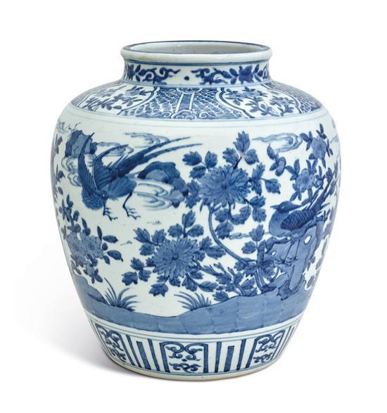 A large Ming-style blue and white jar