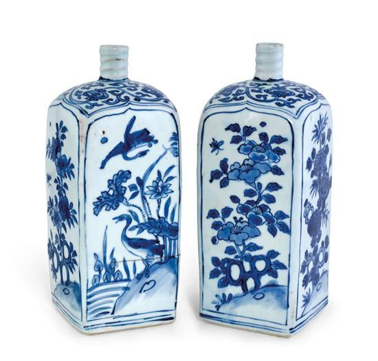 Two blue and white flasks late Ming dynasty, Wanli period (2)