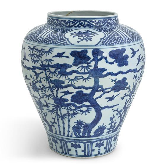 An impressive blue and white 'Three Friends' jar Wanli mark and period