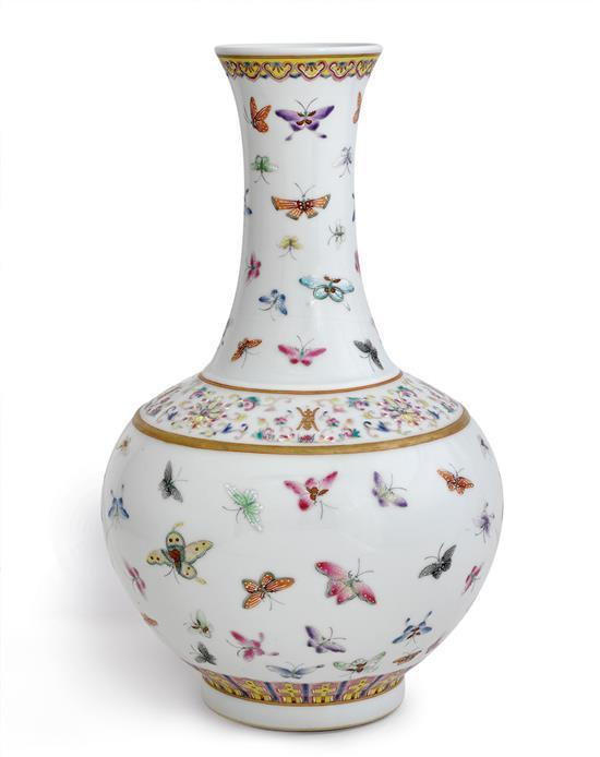 A 'famille-rose' butterfly vase mark of Guangxu