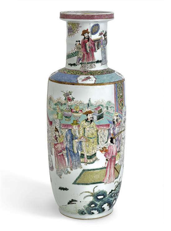 A 'famille-rose' rouleau vase, 19th/20th century