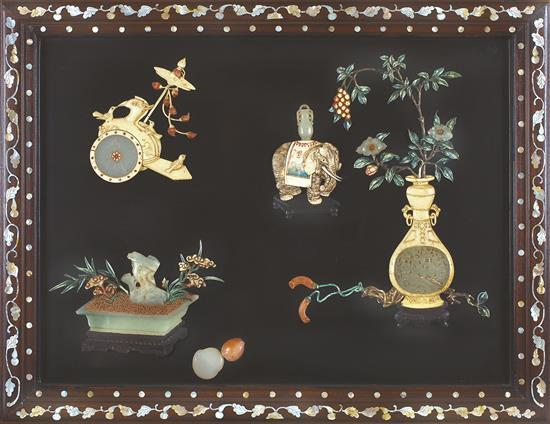 An embellished black lacquer rectangular panel, 19th/20th century