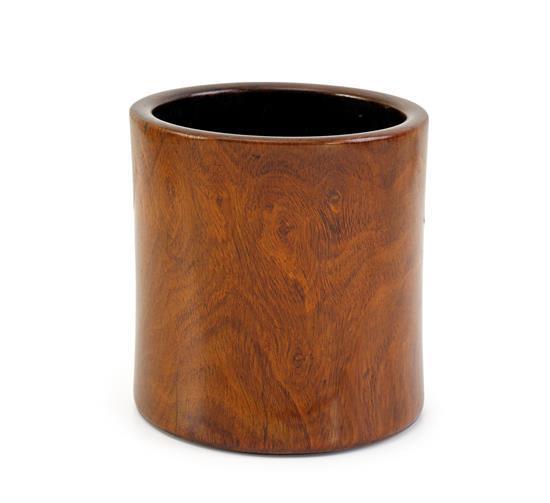 A wood brushpot, Bitong Qing dynasty