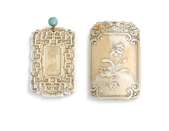 Two carved ivory pendants Qing dynasty, 19th century (2)