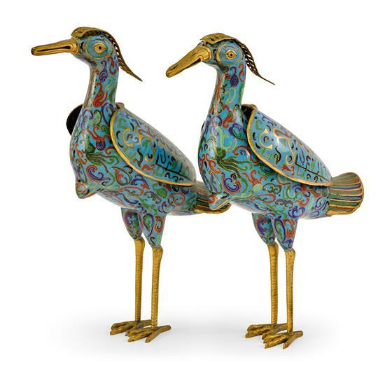 A pair of cloisonne enamel bird-form censers, 19th/20th century (2)