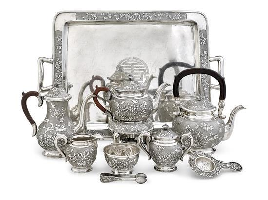 A Chinese silver ten-piece service, 19th/20th century (10)