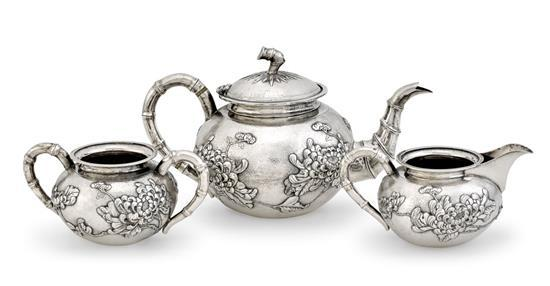A Chinese silver three-piece service, 19th/20th century (3)