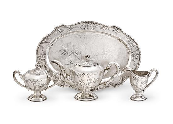 A Chinese silver four-piece service, 19th/20th century (4)