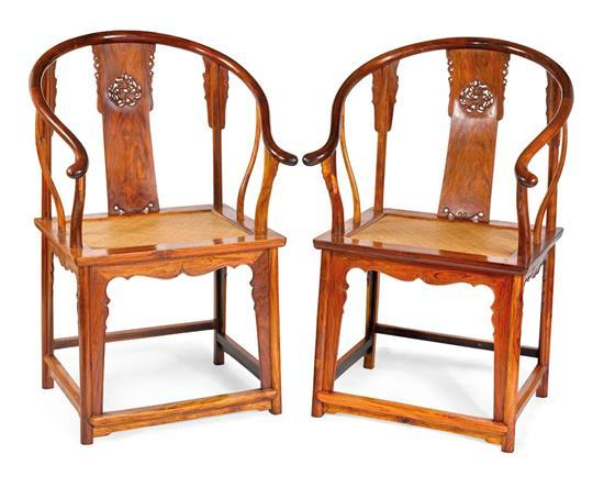 A pair of huanghuali horseshoe-back arm chairs, Quanyi (2)