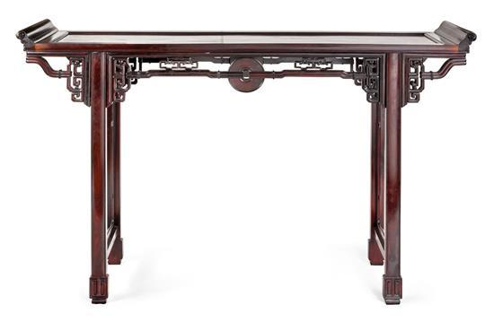 A hardwood recessed leg long table, Qiaotouan, 20th century