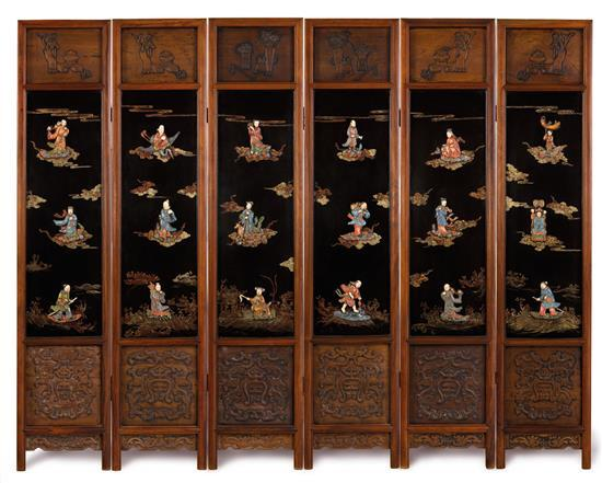 A six-panel embellished black lacquer screen, 20th century (6)