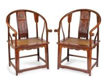 A pair of hardwood horeshoe-back armchairs, Quanyi (2)