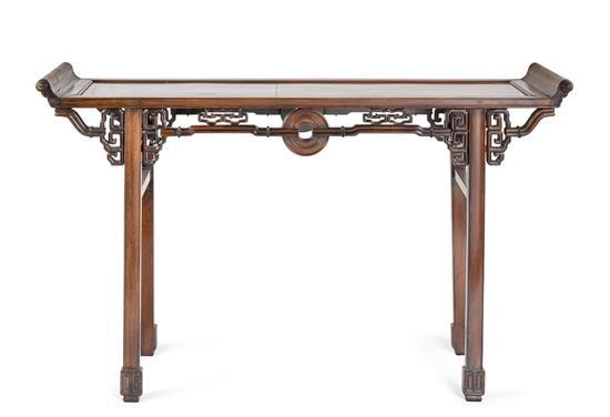 A hardwood recessed leg table, Qiaotouan, 20th century