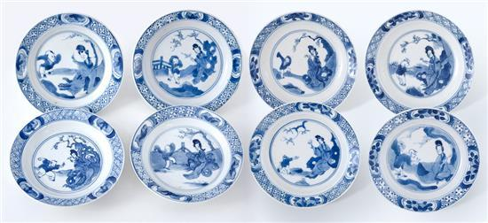Eight small blue and white dishes Qing dynasty, Kangxi period (8)