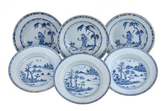 Six blue and white deep dishes Qing dynasty, 18th century (6)