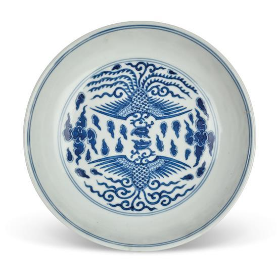 A blue and white 'phoenix' dish seal mark and period of Daoguang