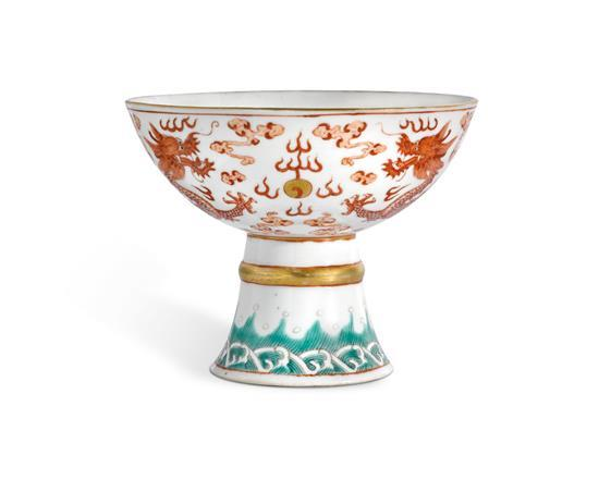 An iron-red and enamelled dated stem cup Qing dynasty, Guangxu period