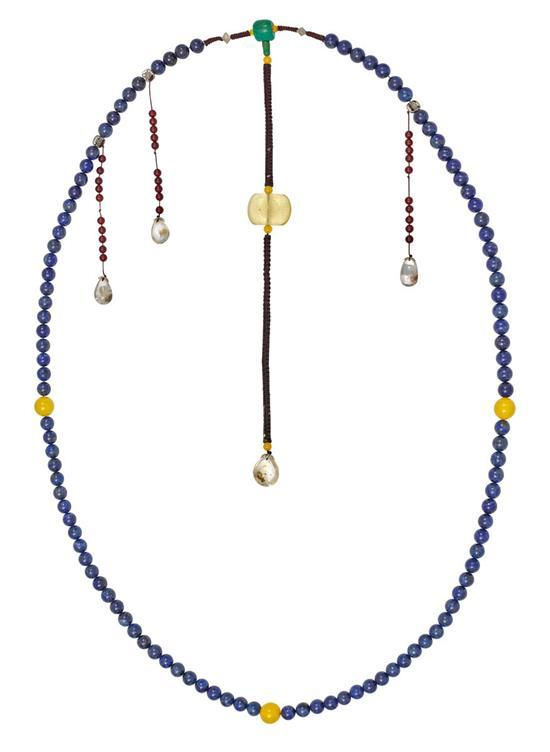 A lapis-lazuli, hardstone and glass court necklace, Chaozhu