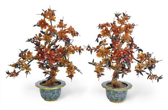 A pair of hardstone flowering trees, 20th century (2)