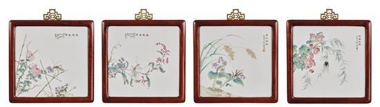 A set of four 'famille-rose' 'flower and insect' porcelain plaques, 20th century (4)
