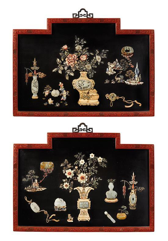 A pair of embellished black lacquer plaques Qing dynasty, 19th century (2)