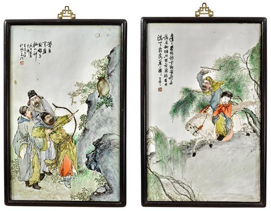 A pair of porcelain plaques, 20th century (2)