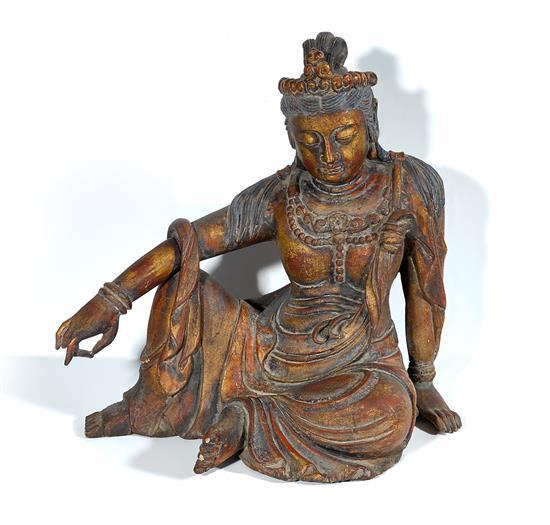 A polychrome wood figure of Guanyin