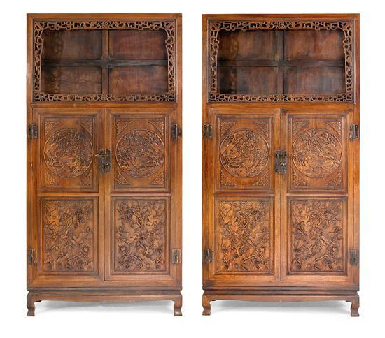 A pair of square-corner 'flower and bird' display cabinets, Liang'ge gui (4)
